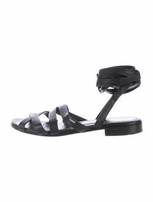 Fendi Leather Gladiator Sandals Black