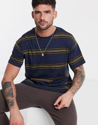 New Look wide stripe t-shirt in blue