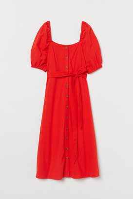 H&M Creped Cotton Dress - Orange