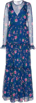 Philosophy di Lorenzo Serafini Floral-Patterned Chiffon Gown
