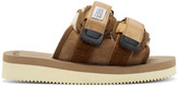 Suicoke Brown Suede and Shearling Zavo Vm-2 Sandals