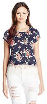Jolt Women's Floral-Print Short-Sleeve Knit Top with Lace Hem