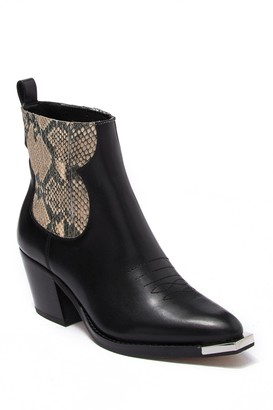 Dolce Vita Abie Leather Snakeskin Embossed Ankle Boot