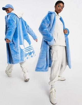 Ivy Park adidas x faux-fur coat in light blue