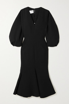 Valentino Wool-blend Crepe Midi Dress - Black