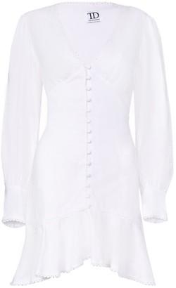 True Decadence White Broderie Long Sleeve Mini Dress