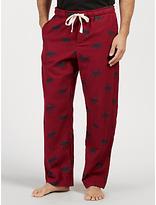 John Lewis Moose Print Brushed Cotton Lounge Pants, Red