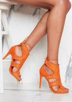 Missy Empire Aaliyah Orange Suede Eyelet Detail Cut Out Heels