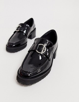 Miista Eeight E8 by Reyna leather heeled buckle loafer in black patent