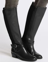 Marks and Spencer Leather Block Heel Strap Knee High Boots