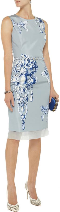 Oscar de la Renta Printed silk-faille dress