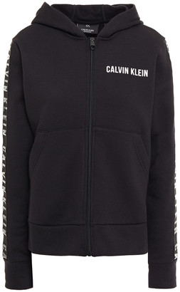 Calvin Klein Printed Cotton-blend Fleece Hoodie