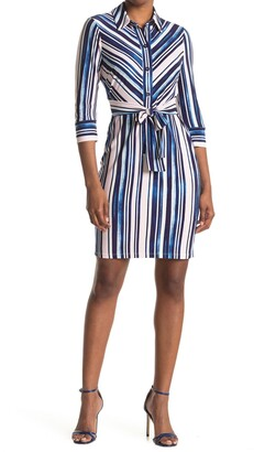 Maggy London Striped 3/4 Sleeve Tie Waist Shirt Dress