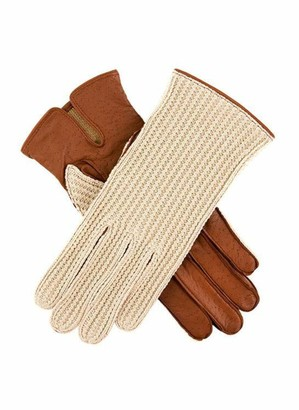 Dents Lesley Women's Crochet Back Driving Gloves COGNAC 7.5