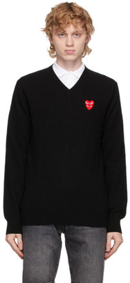 Comme des Garcons Black Double Heart V-Neck Sweater