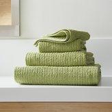 Crate & Barrel Ribbed Green Bath Towels