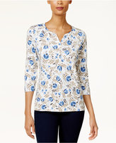 Karen Scott Petite Printed Henley Top, Created for Macy's