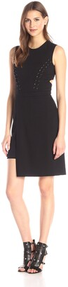Nicole Miller Women's Lace Up Bi-Stretch Cut Out Dress