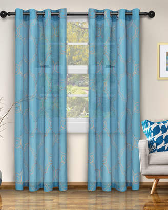 """Florence & Strada Moroccan Embroidered Sheer Curtain Panel Pair, 96"""""""