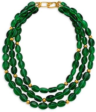 Kenneth Jay Lane 3-Strand Emerald Glass Bead Nested Necklace