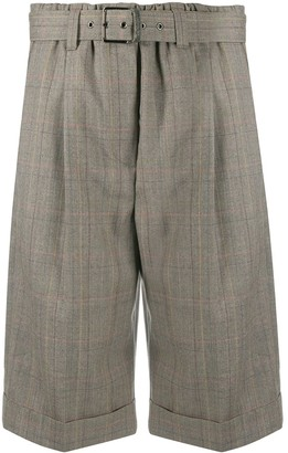 Brunello Cucinelli Check-Print Belted Shorts