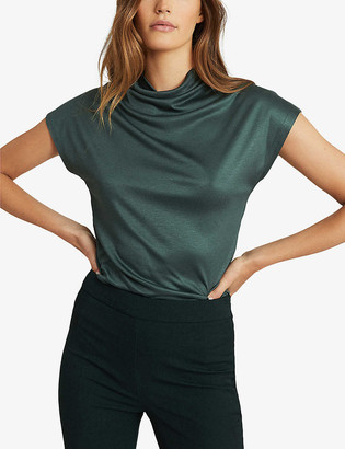 Reiss Pax high-neck draped jersey top