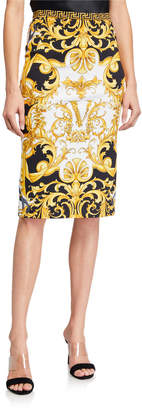 Versace Barocco-Print Knee-Length Skirt