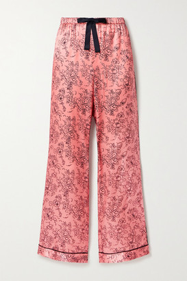 Morgan Lane Parker Piped Floral-print Satin Pajama Pants - Pink