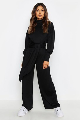 boohoo Cut & Sew Batwing Roll Neck Jumpsuit