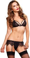 Leg Avenue Women's Vixen 3 Piece Bra Panty and Garter Belt Set
