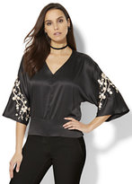 New York & Co. Embroidered Kimono Blouse - Petite