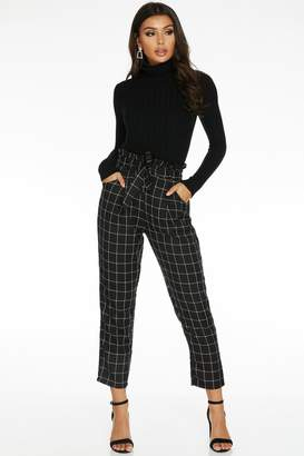 Quiz Black and White Check Paper Bag Trousers