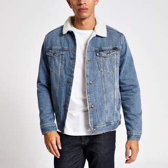 Jack and Jones Mens River Island Blue borg collar denim jacket