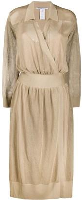 Agnona Mesh-Knit Wrap Dress