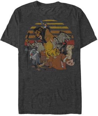 Disney Men Lion King Group Sunset Stripe Vintage Short Sleeve T-Shirt