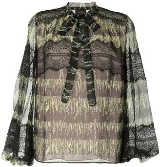 Giambattista Valli Leaf-Print Silk Blouse