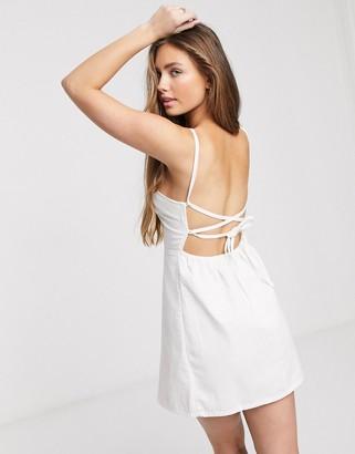 ASOS DESIGN soft denim slip dress in white