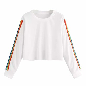 Whycat Rainbow Stripe Cropped Tops Sweatshirt Women Colourful Striped Pullover Long Sleeve Crew Neck T Shirt Cute Girl School Casual Lightweight Jumper Blouse (White 10)