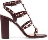 Valentino The Rockstud Embellished Leather Sandals - Burgundy