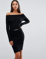 Lipsy Michelle Keegan Loves Bardot Midi Dress with Belt