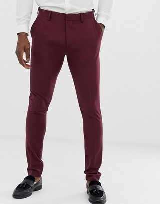ASOS DESIGN super skinny suit pants in burgundy