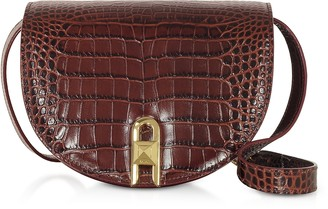 Salar Frida Croco Embossed Leather Crossbody Bag