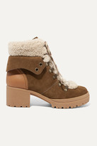 See by Chloe Shearling-trimmed Suede And Leather Ankle Boots - Light brown
