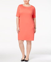 Karen Scott Plus Size Elbow-Sleeve T-Shirt Dress, Only at Macy's