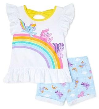 My Little Pony Toddler Girls Flutter Sleeve Ruffle Peplum T-shirt & Shorts Outfit Set, 2-Piece