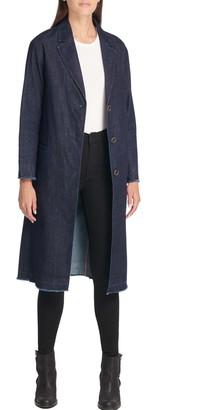 Levi's Denim Frayed Trim Duster Coat