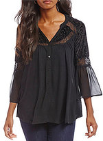 Chelsea & Theodore Mixed Media Bell Sleeve Blouse