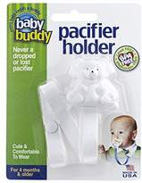 Baby Buddy Pacifier Holder, Cute, Fashionable Bear Clips onto Baby's Shirt, Snap Other End Around Pacifier, Rattle, Toy-For Babies 4 Months and Up-Pacifier Clip for Both Boys & Girls White 2 Pack by