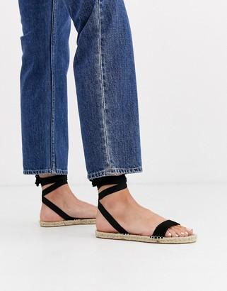 ASOS DESIGN Juniper espadrille flat sandals in black