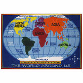Asstd National Brand Kids World Map Rectangular Rugs